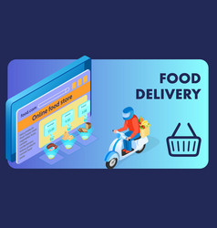 internet food store isometric banner template vector image