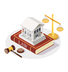 isometric court building standing on law book vector image