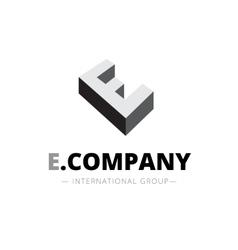 isometric monochrome E letter logo Company vector image