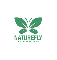leaf butterfly logo design template isolated vector image