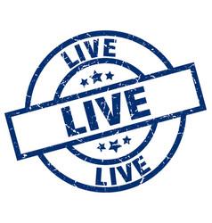 Live blue round grunge stamp vector