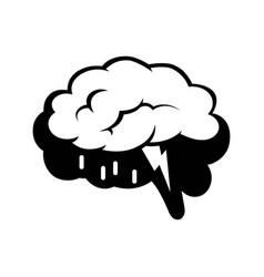 logotype of brain silhouette and rain cloud inside vector image