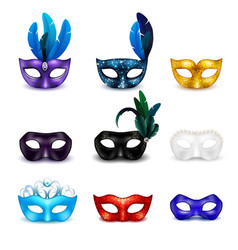 Masquerade mask realistic icon set vector