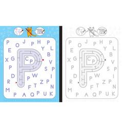 Maze letter p vector
