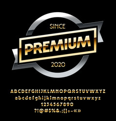 Metallic sign premuim vector