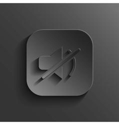 Mute icon - black app button vector image