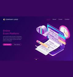 online exam platform isometric landing page test vector image