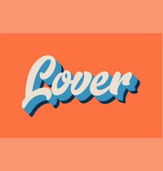 Orange blue white lover hand written word text vector