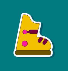 Paper sticker on stylish background ski boots vector