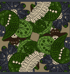 Pattern with abstract flowers and wings vector