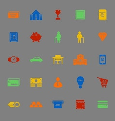 Personal financial color icons on gray background vector image