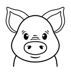 pig head line drawing funny piggy face vector image