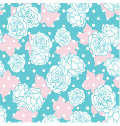 pink blue rose garden with dots seamless vector image