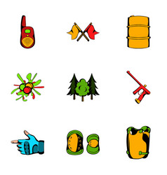 Play icons set cartoon style vector