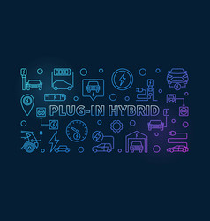 plug-in hybrid colored banner in outline vector image