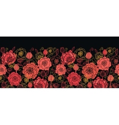 red and black poppy flowers horizontal seamless vector image