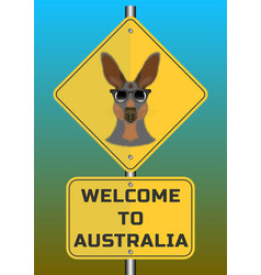 Road signs fluffy kangaroo head with glasses vector