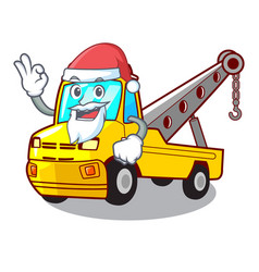 Santa tow truck for vehicle branding character vector