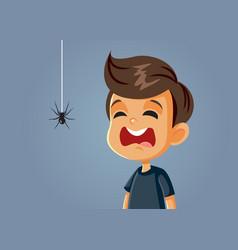 Scared boy being afraid a spider cartoon vector
