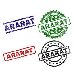 Scratched textured ararat stamp seals vector