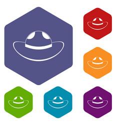 Sea hat icons set hexagon vector