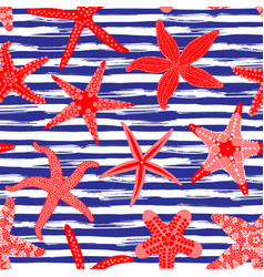 Sea stars seamless pattern marine backgrounds vector
