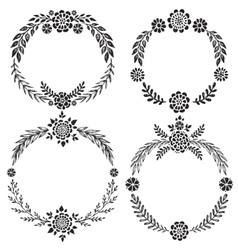 set hand drawn floral wreaths vector image
