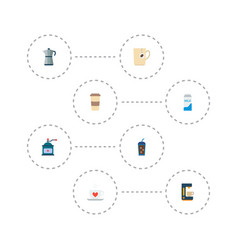 Set of beverage icons flat style symbols with vector