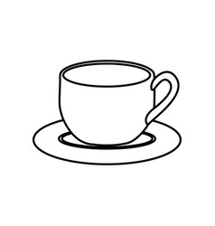 Silhouette dish porcelain with cup vector
