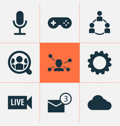 social icons set with people game communication vector image
