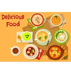 Soup and salad dishes icon for menu design vector image vector image