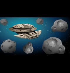 Spaceship in asteroid scene vector