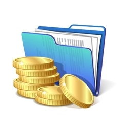 Stack gold coins next to folder with documents vector