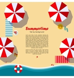 Summertime flat lay background vector image