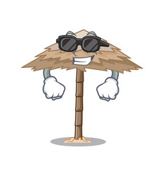 Super cool character tropical sand beach shelter vector
