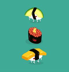 sushi avocado egg funny image vector image