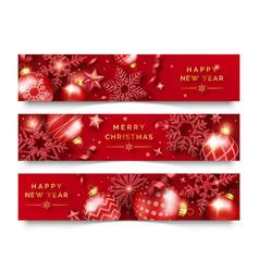 Three christmas horizontal banners with shining vector