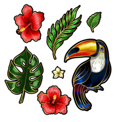 toucan and tropical flowers and leaves embroidery vector image