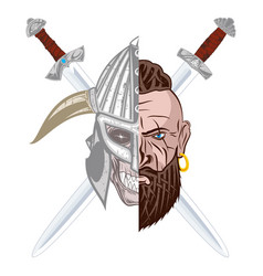 viking skull sword vector image
