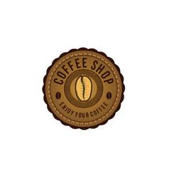 vintage coffee bean round emblem logo designs vector image