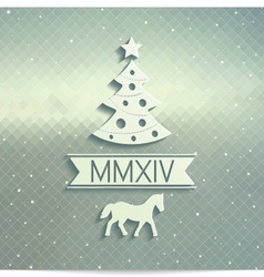 Volume Christmas tree with symbols of 2014 year vector