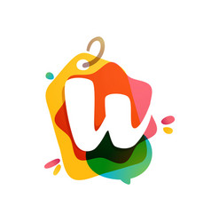 w letter logo with sale tag icon watercolor vector image