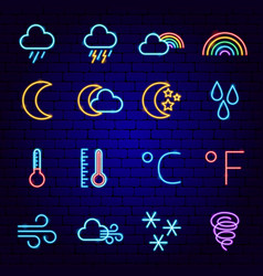 weather forecast neon icons vector image