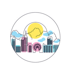 Wheel panoramic with cityscape in frame circular vector