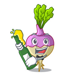 With beer raw rutabaga root isolated on mascot vector