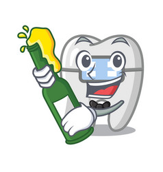 With beer toys braces in mascot box vector