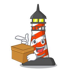 With box cartoon realistic red lighthouse building vector