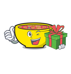 With gift soup union mascot cartoon vector