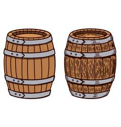 wooden barrel on white background design element vector image