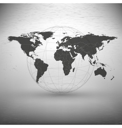 world map with the shadow on gray background vector image